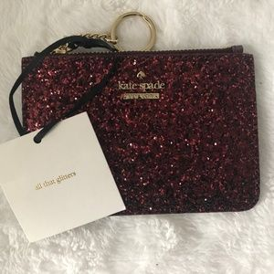 NWT Kate Spade Bitsy Glitter Card Wallet Keychain